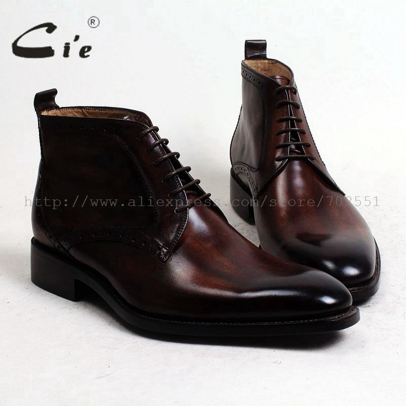 Cie جولة عادي toe100 % حقيقية العجل أحذية عالية الساق من الجلد الزنجار البني اليدوية تسولي جلد جلد الرجال التمهيد الرجال حذاء بوت بطول الكاحل A97-في أحذية برقبة أساسية من أحذية على  مجموعة 1