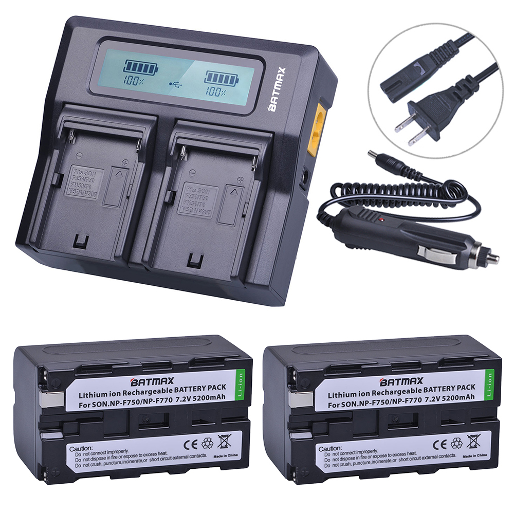 2 pc 5200 mAh NP-F750 NP-F770 NP NP F750 F770 Batterie + Ultra Rapide 3X plus rapide Double Chargeur pour Sony NP F970 F960 ccd-tr917 ccd-tr940