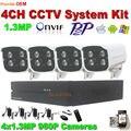 4CH 1280*960 P al aire libre Cámara IP de Vigilancia Kit sistema de seguridad casero 1.3MP IR noche Onvif P2P bullet Cámara de Vídeo de $ number CANALES NVR conjunto