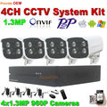 4CH 1280*960P outdoor Surveillance IP Camera Kit home security system 1.3MP IR night Onvif P2P bullet Camera 4CH Video NVR Set