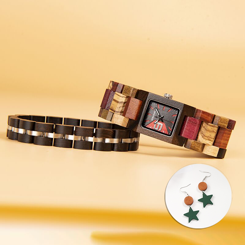 BOBO BIRD นาฬิกาผู้หญิงชุดสร้อยข้อมือนาฬิกา Quartz ไม้นาฬิกาแฟนของขวัญชุด Relogio Feminino ในกล่องไม้-ใน นาฬิกาข้อมือสตรี จาก นาฬิกาข้อมือ บน AliExpress - 11.11_สิบเอ็ด สิบเอ็ดวันคนโสด 1