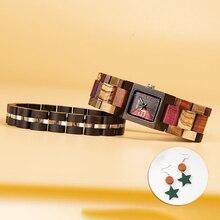 BOBO BIRD Women Watch Bracelet Set Wooden Quartz Wa