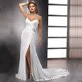 Сексуальная Высокого Щелевая Шифон Свадебные Платья Холтер Шеи Свадебные Платья novia Нежный Бисера Свадебные Платья