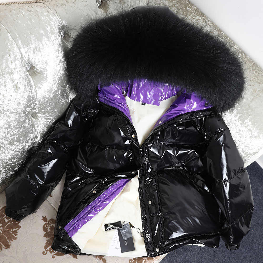 天然フォックス毛皮の襟ダウンパーカー冬ダウンジャケットレディースロングホワイト生き抜く超軽量フード付き薄型帽子コート