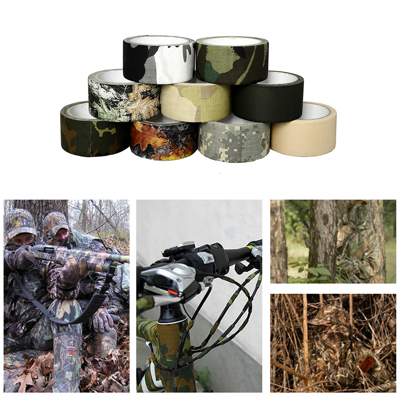 10m Adhesive Cotton Bionic Tape Waterproof Camouflage Wraps Outdoor Hiking Camping Utility Camo Tape Military Hunting Accessorie