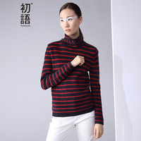 Toyouth Autumn New Fashion Sweater Women Long Sleeve Shirts Turtleneck Stripe Knitted Sweaters Pullovers