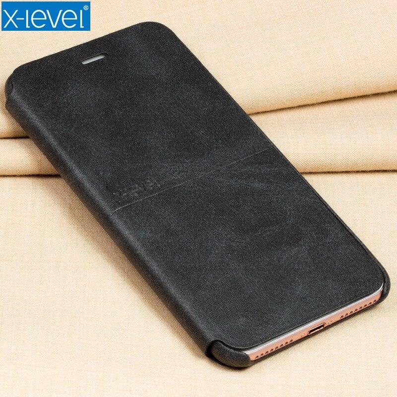 X-Niveau En Cuir Flip Cas de Téléphone Pour iPhone X 6 6 S 7 8 Plus 5 5S SE Pour Samsung Galaxy S6 S7 Bord S8 Plus Slot Téléphone couverture