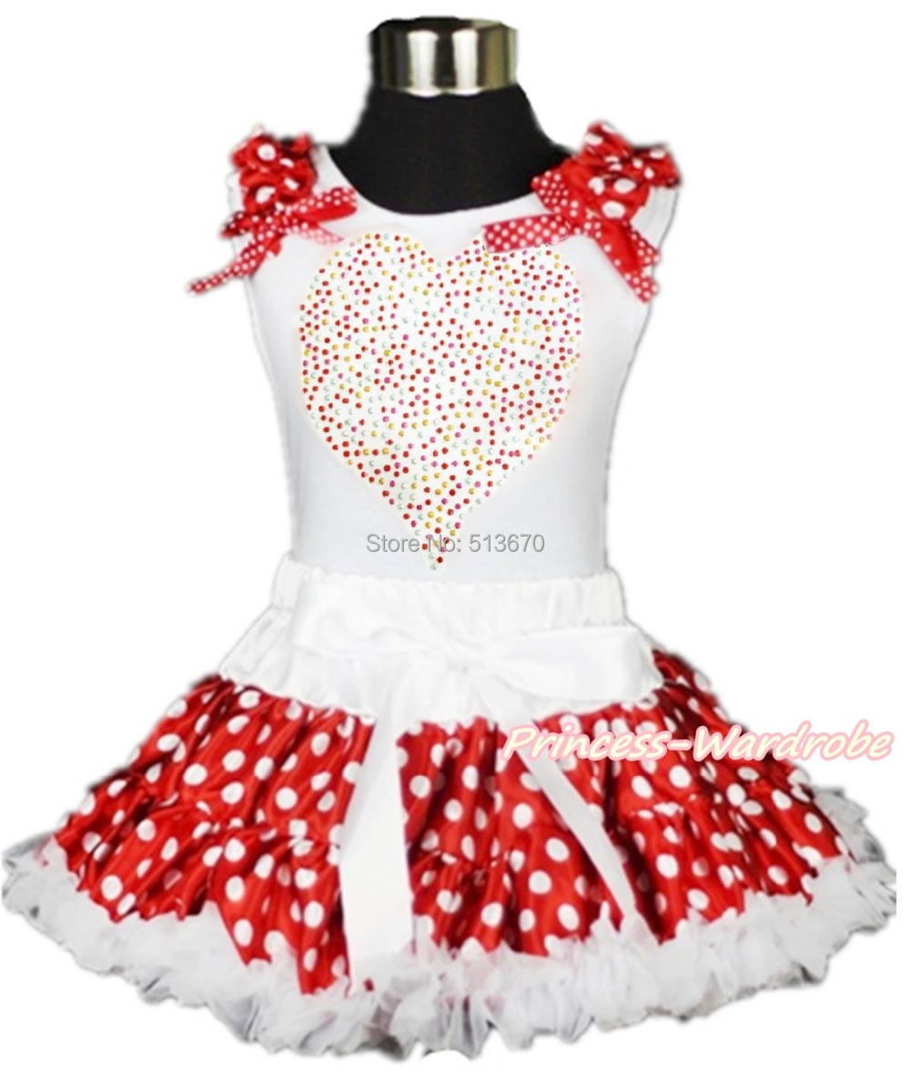 Valentine Rhinestone Heart White Top White Minnie Dot Girl Pettiskirt 1-8Year MAPSA0198 купить
