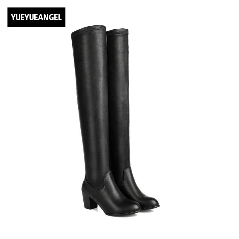 Winter Comfort Soft Warm Thigh High Boots Women High Stretch PU Leather Shoes Slip On British Block Chunky Heel Knight Boots women stretch fabric faux suede patchwork sexy thigh high boots comfort block heel female footwear slip on flower printed shoes