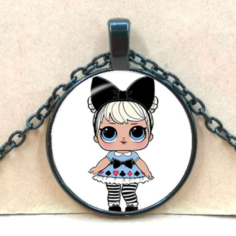 Мультяшное ожерелье с изображением куклы милое детское блестящее платье принцессы куклы стеклянные ожерелья аниме для детей подарок на день рождения - Окраска металла: black 3