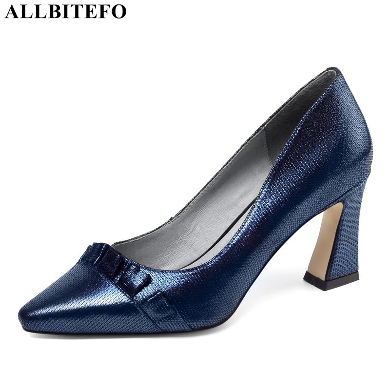 ALLBITEFO Sexy High Heels Full Genuine Leather Women Shoes High Quality Women High Heel Shoes Office Ladies Shoes Women Heels