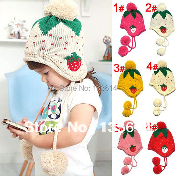 Kids Girls Baby Knitting Crochet Hat Strawberry Pattern Cap 4 Colors ...