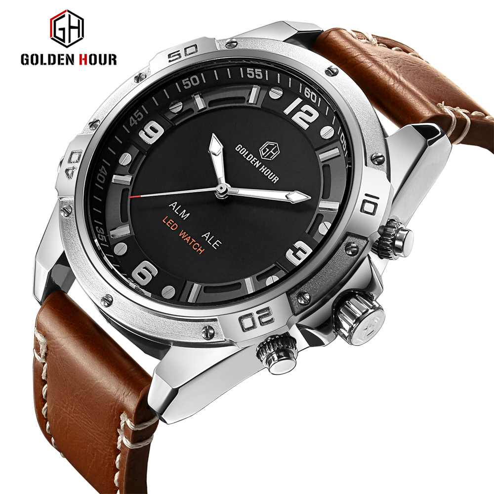 GOLDENHOUR Top Brand Fashion Sport Watches Men Quartz Analog LED Clock Man Leather Military Waterproof Watch Relogio Masculino weide popular brand new fashion digital led watch men waterproof sport watches man white dial stainless steel relogio masculino