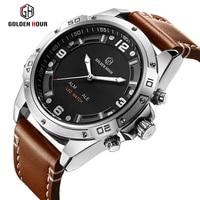 GOLDENHOUR Top Brand Fashion Sport Watches Men Quartz Analog LED Clock Man Leather Military Waterproof Watch