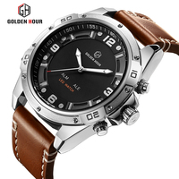 GOLDENHOUR Top Brand Fashion Sport Watches Men Quartz Analog LED Clock Man Leather Military Waterproof Watch