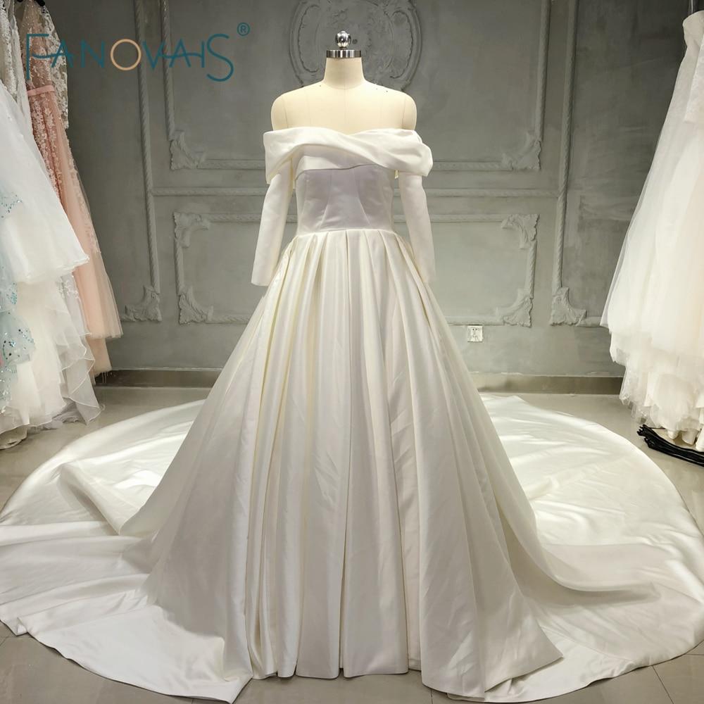 Elegant Silk Wedding Dresses With Sleeves: Elegant Wedding Dresses Long Sleeve Off The Shoulder