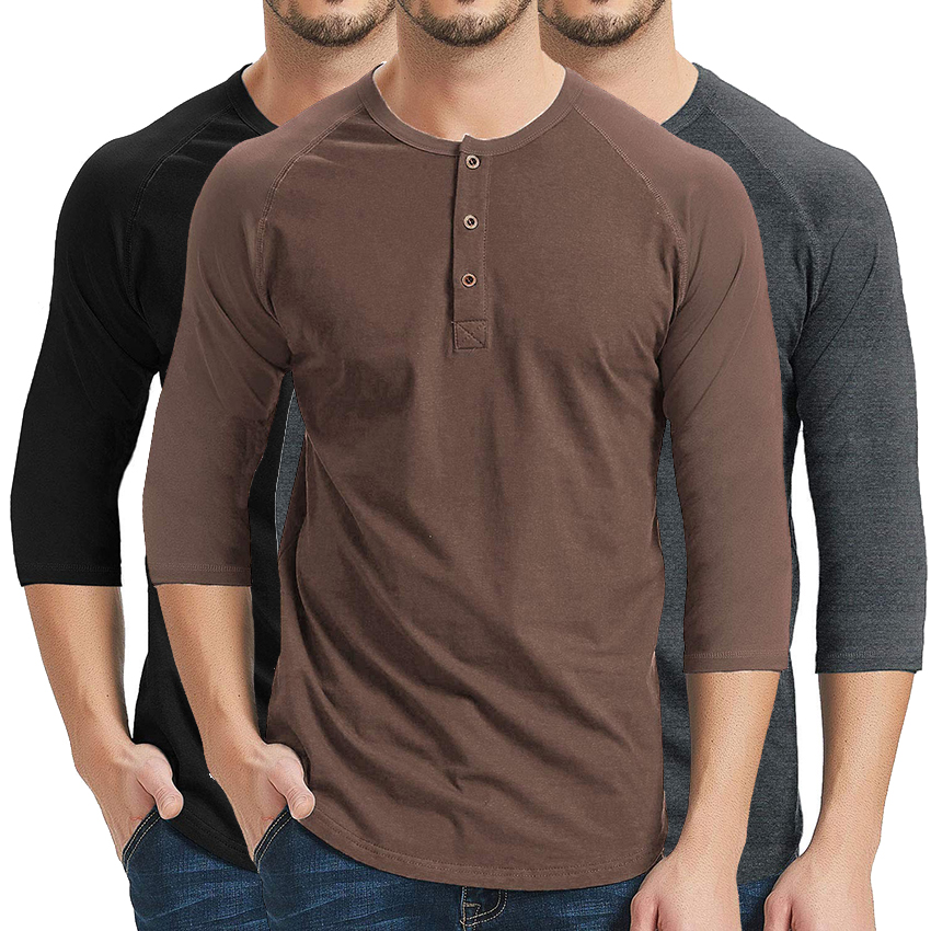 efa77bc1c New Gray T shirt Tee Shirt Homme 2017 Double V Neck Henley Shirt Long  Sleeve Tee Shirt Men Slim Fit T-shirt Xxl