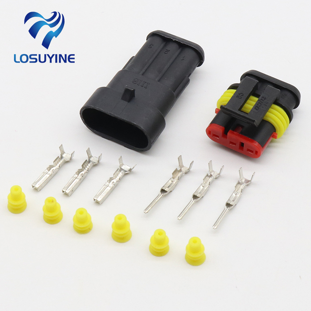 5 sets Kit 3 Pin Way Waterproof Electrical Wire automotive Connector ...