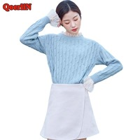 QoerliN Fake Two Piece Sweater Women Spring Autumn 2018 Hot Textured Lace Patchwork Long Sleeve Jersey