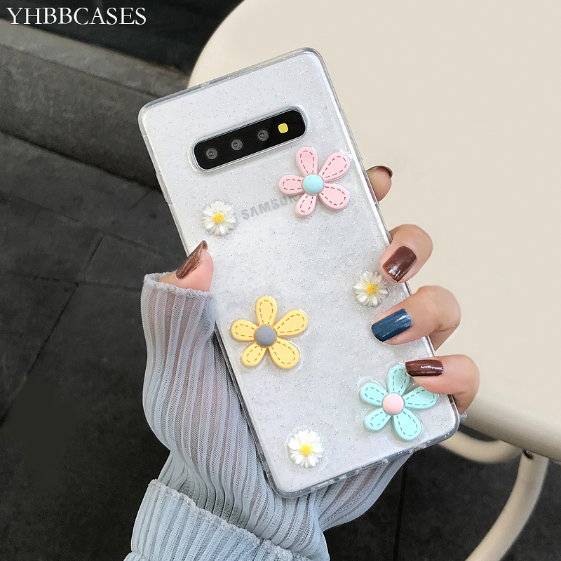 Candy Color Cute 3D Flowers Clear Soft Case For Samsung Galaxy S8 S9 S10 Plus Note 10 8 9 Glitter Powders Phone Cover