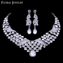 Fashion Waterdrop Shape Rhinestone Wedding Necklace and Earring Sets for Women TL301