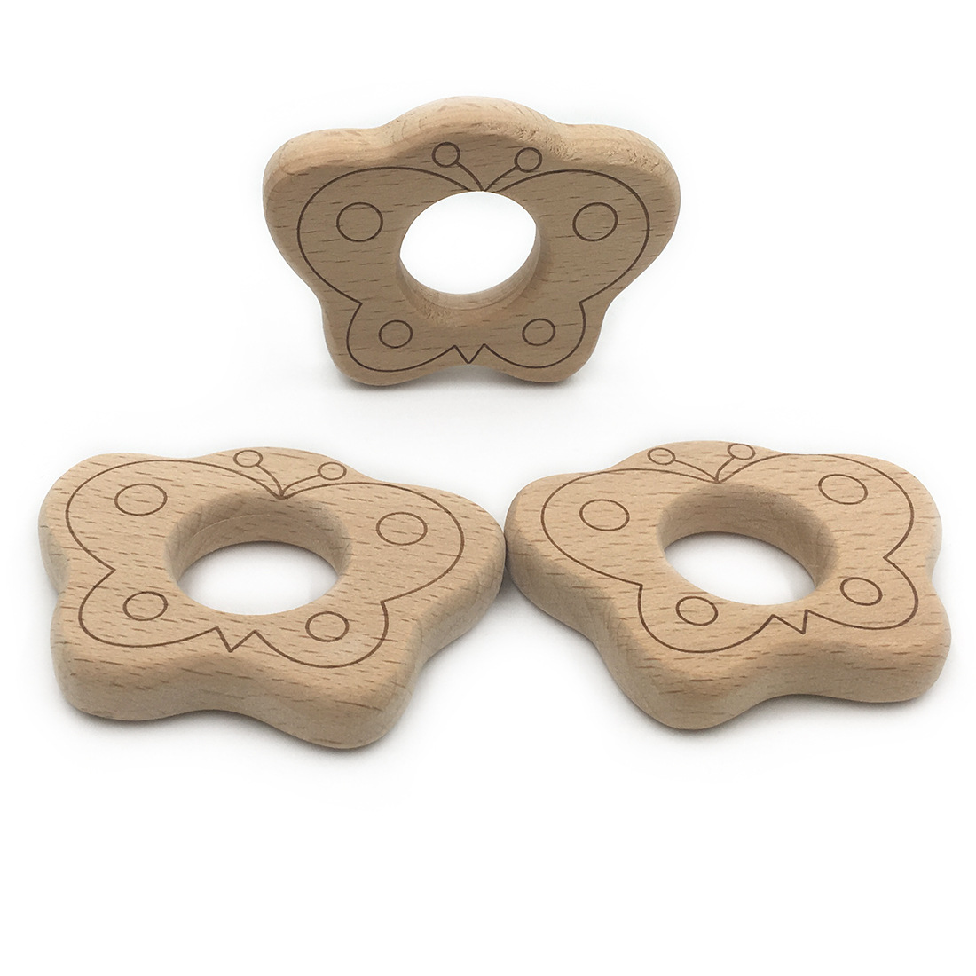 Set of 5pcs organic beech wood crafts butterfly for baby ...