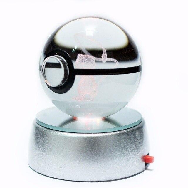Sıcak satış 2 inç 50mm kristal cam Pokeball yaratıcı yılbaşı hediyeleri çocuklar için