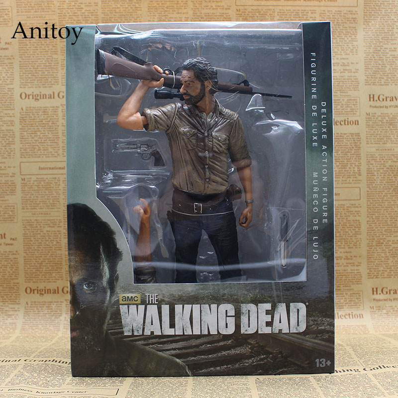 The Walking Dead Rick Grimes Deluxe PVC Action Figures Collectible Model Toys 25cm KT3626 the walking dead rick grimes pvc action figure collectible model toy 10 25cm 10inch