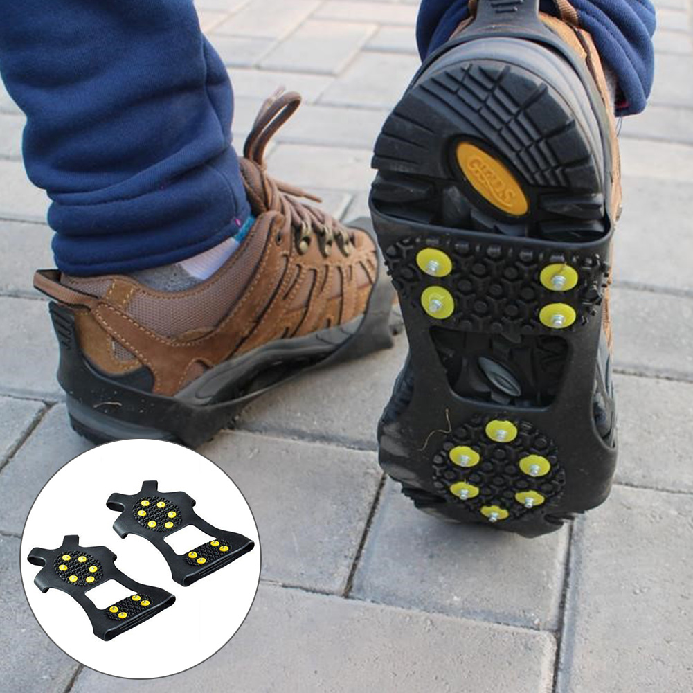 1 Pair S M L 10 Studs Anti-Skid Snow Ice Climbing Shoe Spikes Ice Grips Cleats Crampons Winter Climbing Anti Slip Shoes Cover 5