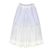 New Summer Autumn Classic Striped Tutu Skirt for Girls Wedding Birthday Party Lace Tulle Skirts Kids Children Ruffle Pettiskirts