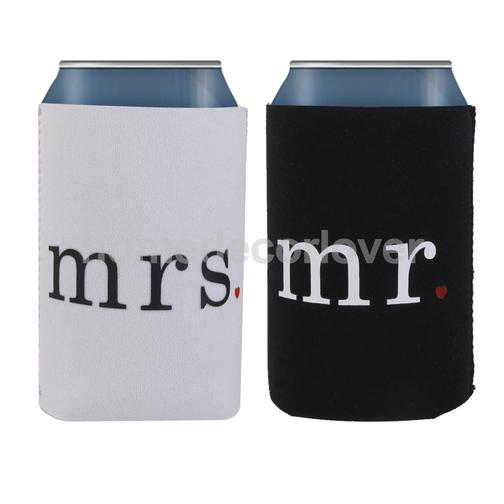 5x Neoprene Beer Can Cooler Sleeve Holder Wedding Favors mr mrs for ...