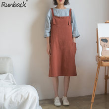 64731209cdf715 Runback Linen Elegant Midi Dress Women 2019 Spring Summer Pinafore Jurk  Sundress Retro Overall Black Female