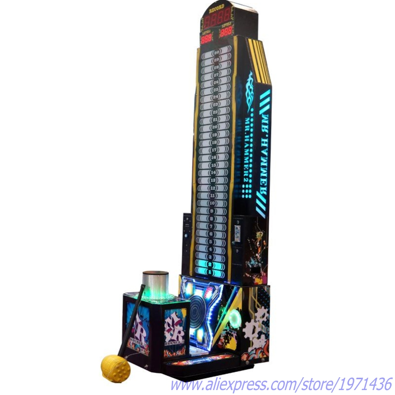 Testing Strength Coin Operated Electronic Games Hammer Hitting Redemption Tickets Arcade Game Machines