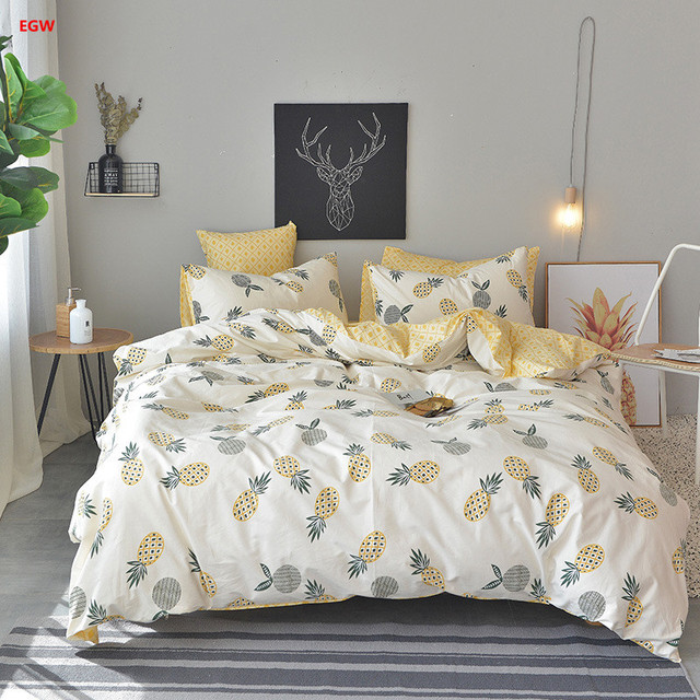 f2d436e382dc Home textile yellow pineapple bedding set 100%cotton blue banana king duvet  cover+bed sheet+pillowcase fresh twin Summer bedding