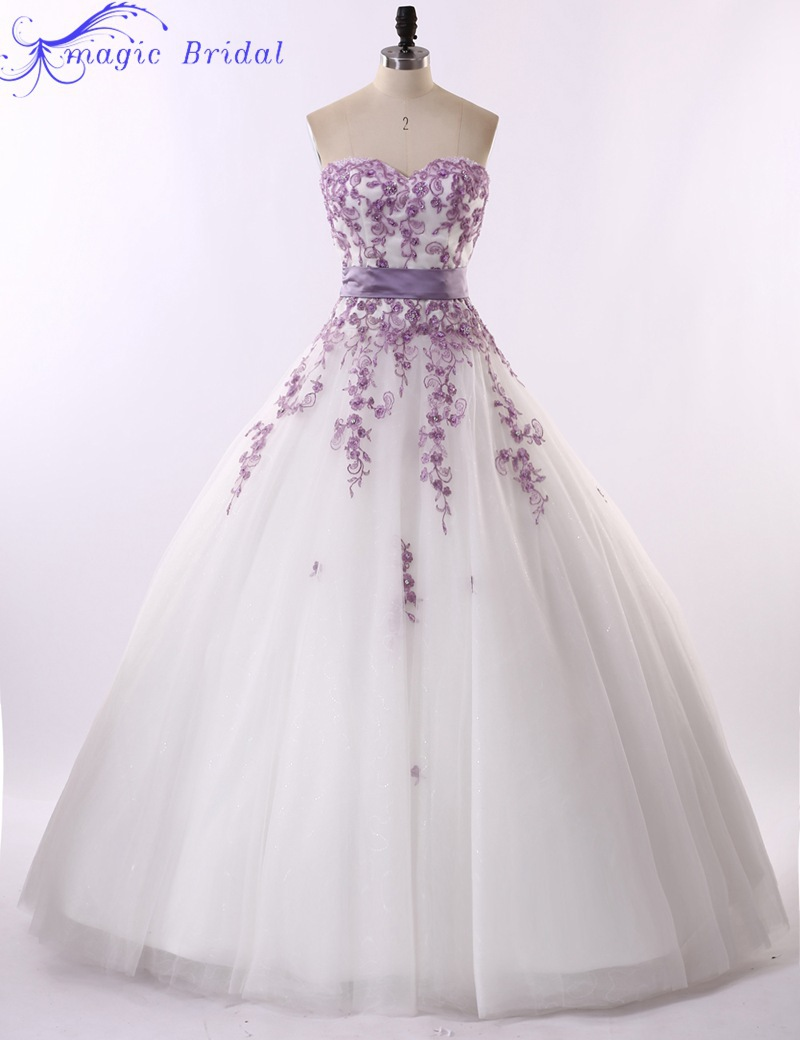 Vestido De Noiva Renda Vintage Strapless Purple Lace And White ...
