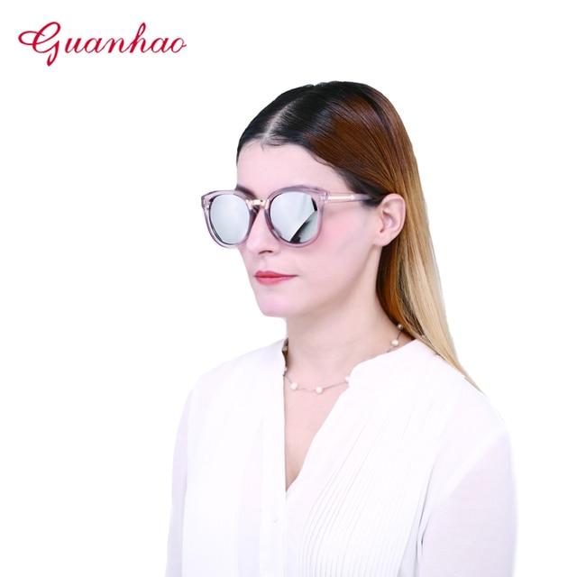 d72c78c0ab GUANHAO 2018 gafas de sol mujer UV400 protección ver mujeres diseñador cara  redonda femenina nueva marca