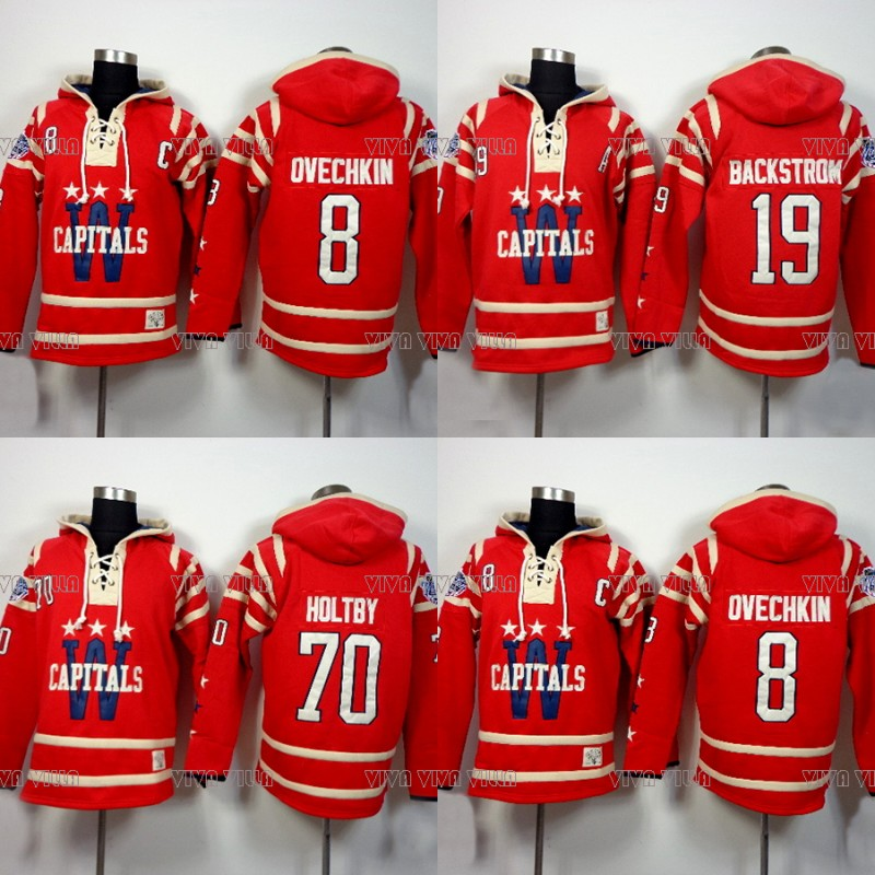 Throwback Hockey Jersey Hoodies 8 Alexander Ovechkin 19 Nicklas Backstrom 70 Braden Holtby Hoodie Sweater Ice Hockey Jersey