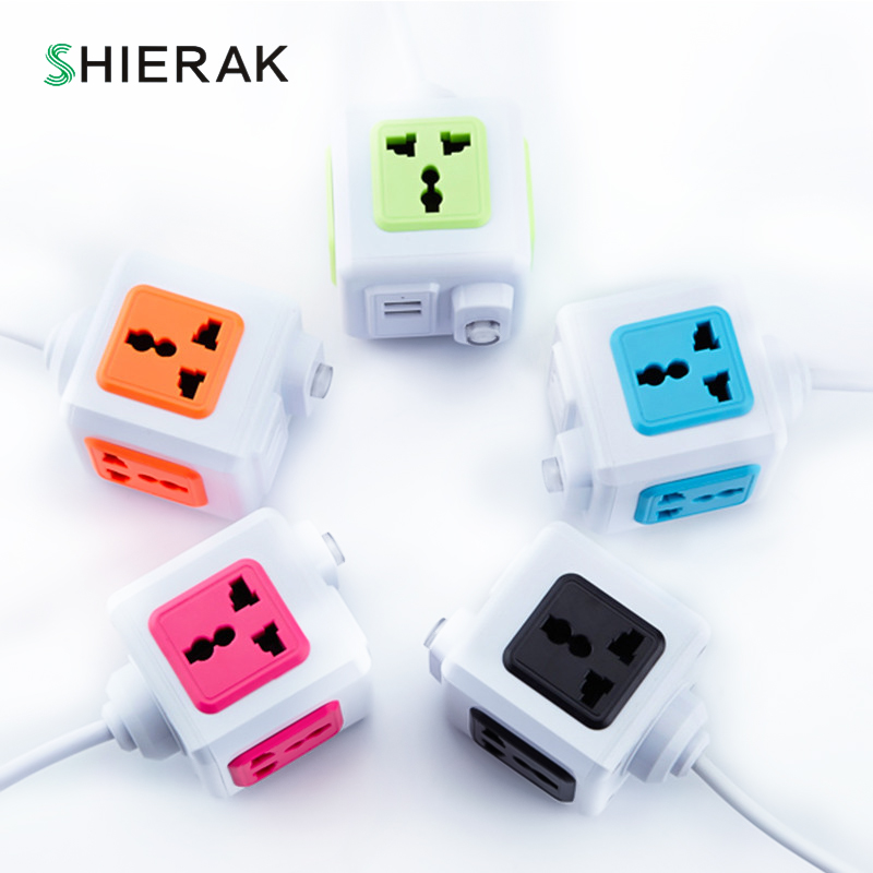 цена на SHIERAK Universal Standard Magic Cube Socket 110-250V 10A 4 Outlets With 2 USB Ports 5V 2A Adapter Extension Cable 2m 2500W Home