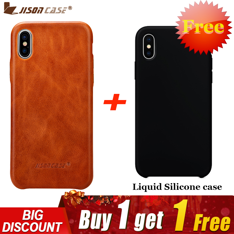 new product 1ac7c 3313d US $18.95 30% OFF|Jisoncase Leather Case for iPhone X Cover Genuine Leather  Luxury Slim Anti knock Back Cover for iPhone X Capa Buy One Get Two-in ...
