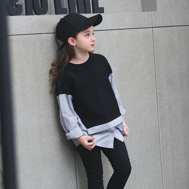 Adolescente Niñas T-shirt Pullover Primavera Casual Otoño Camiseta con Rayas Negro Blanco