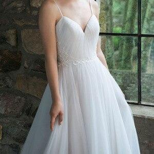 Image 3 - Lorie boho vestido de casamento espaguete cinta um tule longo sem costas branco praia vestido de casamento apliques rendas princesa vestido de noiva 2019
