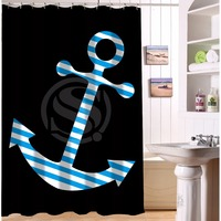 Stylish Waterproof Polyester Shower Curtain Customized Striped Sailer Anchor On Black Shower Curtain 48 IN X