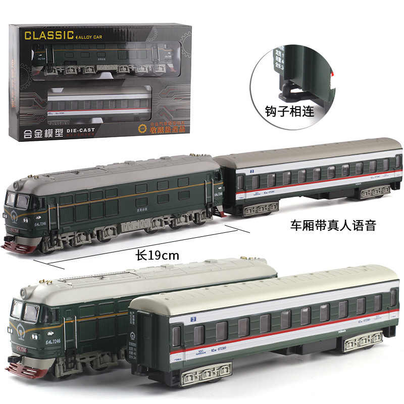 1:87 Steam Train Diecast Locomotive Alloy Model toy cars Pull Back Train with Sound Light Model toys for children