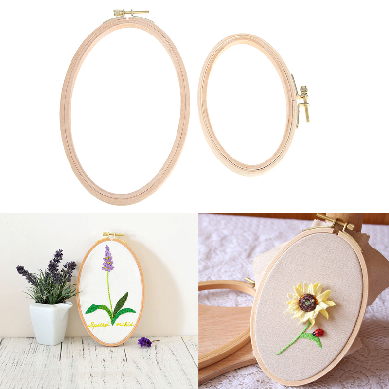 Bamboo Embroidery Hoop Frame Oval Embroidery Hoop Ring Cross Stitch Kits DIY Needlecraft Household Sewing Tool