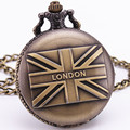 l Love London England Flag British Antique Vintage Retro Bronze Pocket Watch Pendant Chain Clock Sweater Necklace Souvenir TD047