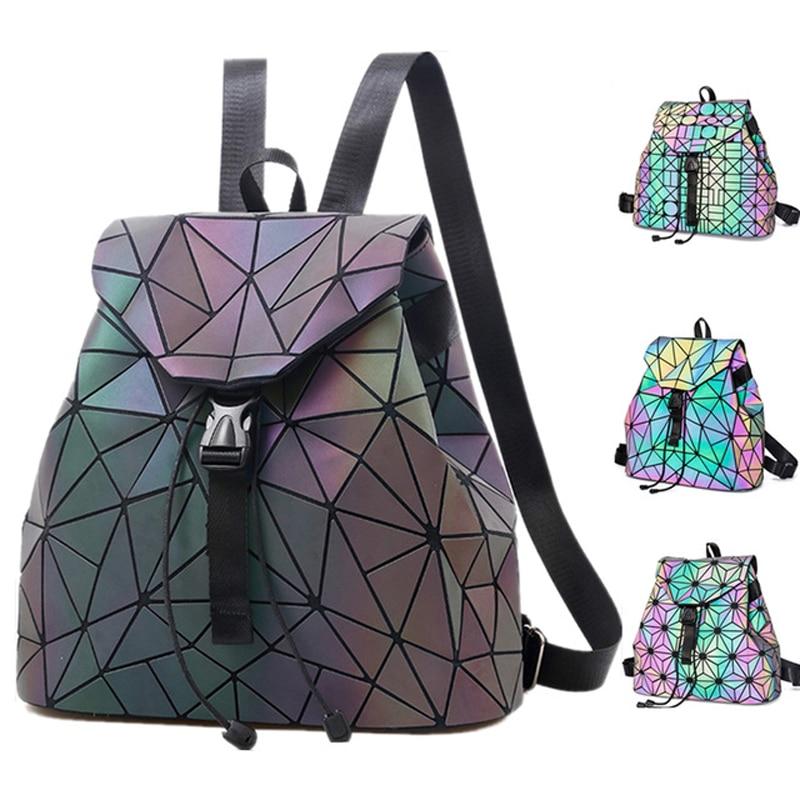 Luminous Backpack Women Mini Leather Geometric Reflective Backpacks School Lattice Holographic Backpack Female Bags Girl Travel