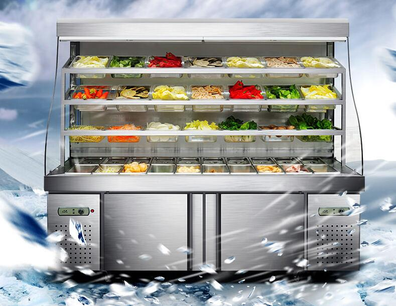 цена Commercial Refrigeration Showcase Vegetable Freezer Spicy Hot Pot Refrigeration Cabinet LB-896