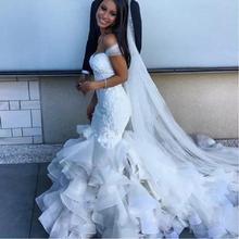Modest African Mermaid Wedding Dresses 2019 vestido de noiva Ruffle Applique Organza Bridal Gowns Free Shipping Alibaba China
