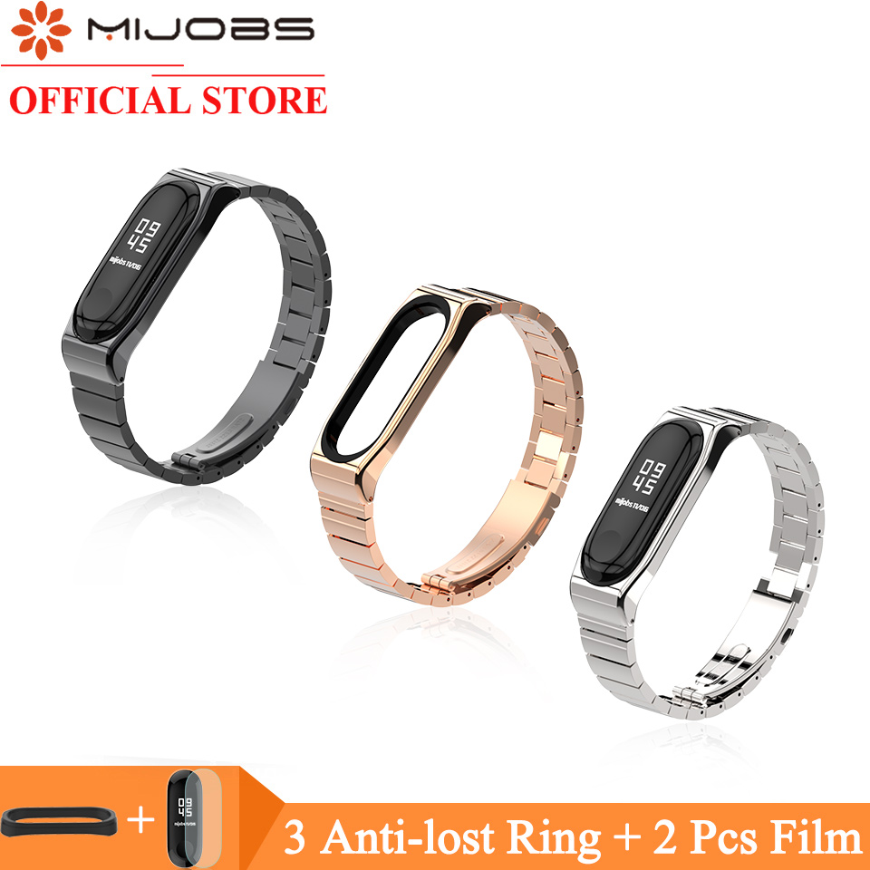 Mijobs Strap For Mi Band 4 3 Metal Strap For Xiaomi Mi Band 4 Stainless Steel Bracelet MiBand 3 Wristbands Mi Band 4 Wrist Strap