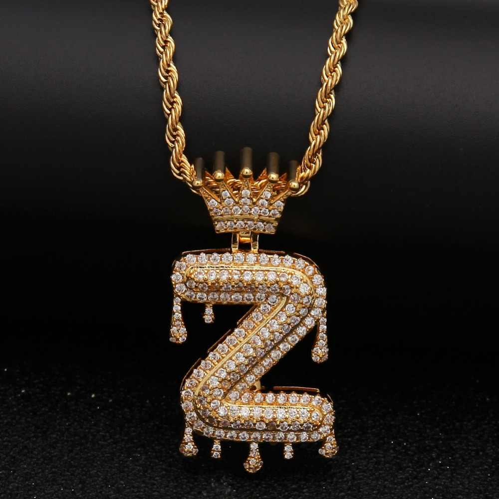 8a60481ce3050 THE BLING KING Drip Crown Letter Name Necklace Pave Iced Out Cubiz Zirconia  26 English Bubble Letters Pendant Jewelry Gifts